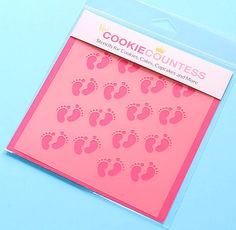 Use the baby foot prints cookie stencil to decorate cookies, chocolate covered Oreos, fondant cupcake toppers and more! Stencil on the designs with royal icing, airbrushing or even our edible food pai