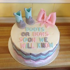 Cute cake theme for baby gender reveal party! Baby Gender Reveal Party, Gender Party, Baby Reveal Cakes, Gateau Baby Shower, Baby Shower Cakes, Cupcakes, Shower Bebe, Baby On The Way, Everything Baby