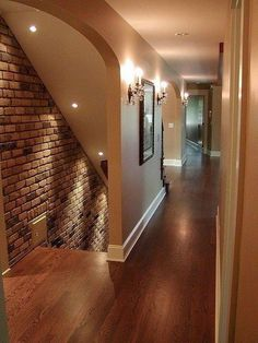 Admirable Artistic Vintage Brick Wall Design for Home Interior - Page 34 of 92 Basement Entrance, Basement House, Basement Stairs, Basement Bedrooms, Basement Flooring, Basement Ideas, Basement Bathroom, Flooring Ideas, Cozy Basement