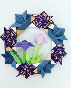 子供の日の飾りに!折り紙リースの折り方・作り方 Origami Wreath, Origami Blume, Origami Box, Origami Flowers, Origami Paper, Origami Instructions, Origami Tutorial, Wreath Crafts, Diy Wreath
