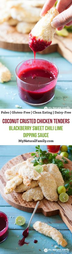 Paleo coconut chicken tenders with blackberry sweet chili lime dipping sauce recipe {Clean Eating, Gluten Free, Dairy Free}