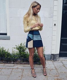 this patchwork suede skirt>
