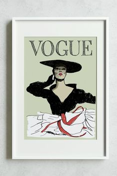 A new addition to our collection of fashion prints. Vintage Vogue Covers, Wall Decor, Wall Art, Fashion Prints, Decor Styles, Etsy Seller, Interiors, Graphic Design, Art Prints