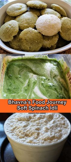 """Soft Spinach Idli No fail recipe. You need just main 4 ingredients and few drops of oil to prepare this delicious healthy idli. I have seen so many recipes which adds poha (flatten rice) or mamra (puffed rice) but I never dared to change my recipe """"if it ain't broke don't fix it?"""". Do check it out!! Gluten Free Recipes, My Recipes, Puffed Rice, Vegetarian Cooking, 4 Ingredients, Free Food, Spinach, Journey, Change"""