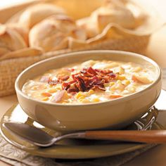 Autumn Chowder- Need to warm up? Try one of our best soup recipes! Choose from chicken soup, tomato soup, chowder and more top-rated recipes for soup. Chowder Recipes, Soup Recipes, Cooking Recipes, Recipies, Yummy Recipes, Cooking Tips, Dinner Recipes, Digest Diet, Bowl Of Soup