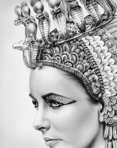 Cleopatra Elizabeth Taylor Egypt Classic Hollywood Vintage Glamour 1960s Pencil Portrait Drawing Fine Art Print