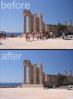 """Delete Tourists From Your Travel Photos 1: Set Your Camera On a Tripod. 2: Take a Picture About Every 10 Seconds Until You Have About 15 Shots 3: Open All The Images In Photoshop by Going to File > Scripts > Statistics. Choose """"Median"""" and Select The Files You Took. 4: Bam! Photoshop Finds What Is Different In The Photos and Simply Removes It! Since The People Moved Around, It Fills The Area Where Someone Was Standing With Part of Another Photo Where No One Was There"""
