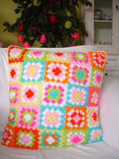 Crochet Cushion Bright Colourful Granny Squares