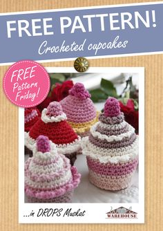 Anyone for cake...? These super scrumptious crocheted cupcakes are the perfect additon to a summer spread - or a lovely present! Download the pattern for free from our website as part of our Free Pattern Friday series #freepattern #crochet #WoolWarehouse #Drops
