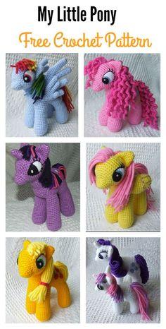 Awesome My Little Pony Free Crochet Patterns Crochet Pony, Crochet Unicorn Pattern, Crochet Horse, Crochet Gratis, Crochet Amigurumi Free Patterns, Crochet Animal Patterns, Free Crochet, Crochet Animals, Knitting Patterns