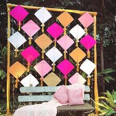 Kite Decoration, Background Decoration, Backdrop Decorations, Backdrops, Ganpati Decoration Ideas, Lanterns Decor, Wedding Hall Decorations, Desi Wedding Decor, Marriage Decoration