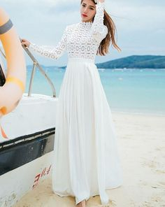 Elegant Lace Top Maxi Dress