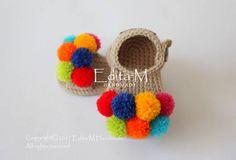 Crochet baby sandals pom pom sandals open toe baby booties