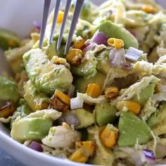 🥑🐔 Chicken Avocado salad 😘 Take chicken salad to a new level with the addition of avocado. This naturally creamy chicken and avocado salad… Healthy Eating Recipes, Healthy Meal Prep, Cooking Recipes, Healthy Foods, Keto Recipes, Keto Meal, Delicious Recipes, Fast Foods, Easy Cooking