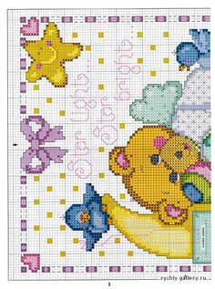 The most beautiful cross-stitch pattern - Knitting, Crochet Love Cross Stitch Owl, Baby Cross Stitch Patterns, Cross Stitch Freebies, Cross Stitch Letters, Cross Stitch For Kids, Cross Stitch Cards, Cross Stitch Borders, Cross Stitch Samplers, Cross Stitch Flowers