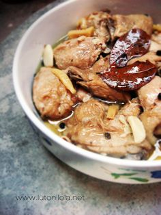 CHICKEN TALUNAN a combination of adobo and paksiw with ginger.