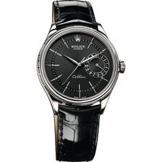 "The Rolex Cellini Date 39 mm in white gold with a black dial featuring a ""rayon flammé de la gloire"" guilloche motif and mounted on a black leather strap. Rolex watches are available at Deutsch & Deutsch in Houston, Laredo, McAllen & El Paso, Texas. Swiss Luxury Watches, Swiss Army Watches, Luxury Watches For Men, Rolex Daytona, Cool Watches, Rolex Watches, Latest Watches, Fine Watches, Rolex Cellini"