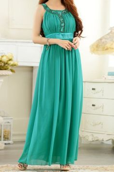 1984496f281a Stylish Scoop Neck Diamante Decorated Sleeveless Maxi Dress For Women Maxi  Dresses