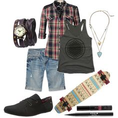 Summer Skate Champ by bagheera57 on Polyvore featuring Kenneth Cole, Stila, Summer, Punk, summerstyle, skateboard and skater