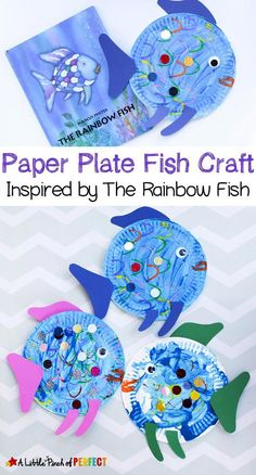 Paper Plate Fish Craft Inspired by The Rainbow Fish: a perfect read and craft bo. Paper Plate Fish Craft Inspired by The Rainbow Fish: a perfect read and craft book activity for kids The Rainbow Fish, Rainbow Fish Eyfs, Paper Plate Fish, Paper Plates, Paper Fish, Paper Plate Art, Paper Plate Animals, Daycare Crafts, Fish Crafts Preschool