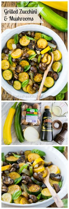 Grilled Zucchini and Mushrooms; an easy and tasty way to grill veggies!