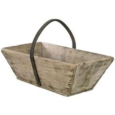 Vintage French Wood Garden Trug With Rubber Handle (165 CAD) ❤ liked on Polyvore featuring home, outdoors, garden tools and decorative objects