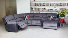 Bourbon Fabric Modular Corner Recliner Lounge Suite - Lounges - Living Room - Furniture, Outdoor & BBQs   Harvey Norman Australia