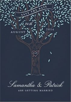 classy cute vintage love tree save-the-date wedding invitations. easy to customize!