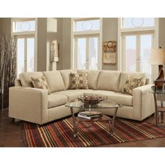 Roundhill Furniture Fabric Sectional Sofa With 3 Pillows Beige