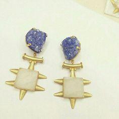 Purple druzy, white druzy, Druzy earrings, golden purple white earrings, pretty, tribal look only by GLISTEN GEMS  Www.facebook.com/glistengems