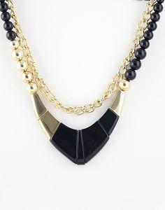 Gold Black Bead Chain Necklace - Sheinside.com