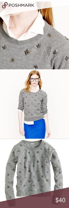 J.Crew jeweled sweatshirt in gray sz XS J.Crew jeweled sweatshirt in gray. Size: XS. Length: 21 inches. Chest: 18 inches. Super soft shrunken grey sweatshirt covered in sequins and crystals, on front and back. Can be worn so many ways - with boyfriend jeans for the weekend or casual Friday or dressed up with a pencil skirt or black pants. Great preowned condition. J. Crew Tops Sweatshirts & Hoodies