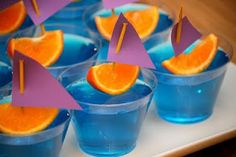 Boat- jello and orange slice- Columbus Day snack :)