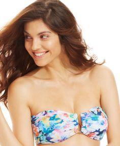 Bar Iii Printed Split-Neck Bandeau Bikini Top