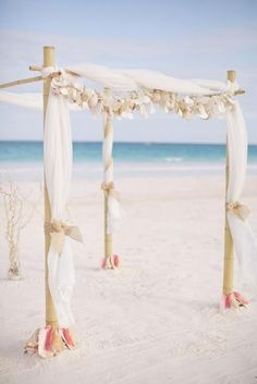 Love this tropical beach wedding arch! wedding arch Destination Wedding in the Bahamas Photographed by Martina Micko Beach Wedding Decorations, Beach Wedding Favors, Nautical Wedding, Beach Weddings, Wedding Burlap, Wedding Lanterns, Rustic Weddings, Destination Weddings, Romantic Weddings