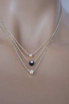 Triple Swarovski Crystal Gold Plated Necklace by ArtofAccessory