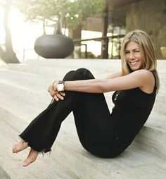 black fringed jeans, black tank, pendant necklaces -- Jennifer Aniston