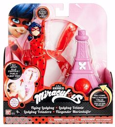 7.5-Inch Flying Ladybug Feature Action Doll - She flies up to 8 feet through the air with a pull of a string to the Miraculous theme song - She moves through the air by holding onto her compact just l