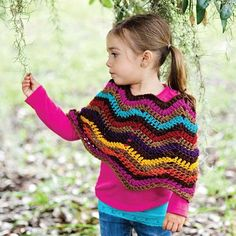Want to dress up your little cutie in something colorful? Try this free chevron poncho pattern.