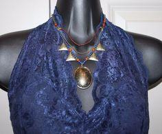 bohemian beaded tribal handmade unique vintage antique look necklace pendant B1 #Pendant