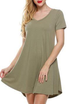 Women Short Sleeve V-Neck Fit Mini Tunic Casual Dresses