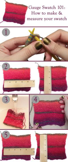 How to #knit or #crochet and measure your gauge swatch