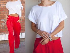 these loose pants and a crop top. bright lively colors <3