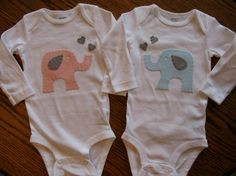 Stephanie could totally make this! Twin Elephant Set - Boy Girl Twin Set Onesies. $30.00, via Etsy.