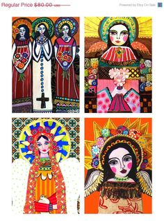 Mexican Folk Art Virgin of Guadalupe GIFT SET of 4 print posters SIGNED - Wedding Gifts. $56.00, via Etsy.