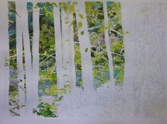 watercolor images of leaves | Working one section at a time I paint the background looking at my ...