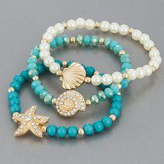 Gold Finish Pearl Beaded Sea Life Design Elegant Stretchable Three Bangle Set - Different Ideas Shell Jewelry, Resin Jewelry, Pearl Jewelry, Jewelry Crafts, Beaded Jewelry, Jewelery, Jewelry Bracelets, Pearl Bracelets, Marcasite Jewelry