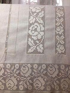 Bordado/ Filstire/ Maria L. Filet Crochet, Crochet Diagram, Free Crochet Doily Patterns, Crochet Doilies, Drawn Thread, Linens And Lace, Filets, Love Crochet, Knit Crochet
