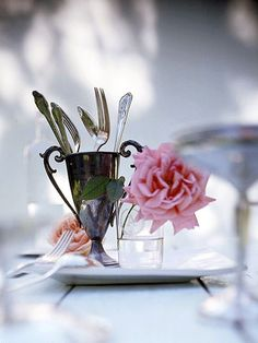 Silver tablescapes offer a traditional spin on summer entertaining. Let the quiet sheen of your favorite silver pieces sparkle in a softly elegant outdoor entertaining tablescape. Handmade Home, French Country Dining, Equestrian Decor, Elegant, Candlesticks, Tablescapes, Entertaining, Seasons, Antiques