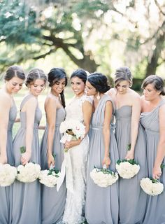Dusty Blue Mismatched Bridesmaid Dresses Ideas